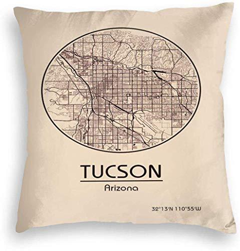 Redsheep Funda de almohada de terciopelo personalizado para viajes vintage Tucson Arizona USA City Art Map Home Decor Fundas de cojín con cremallera para sofá