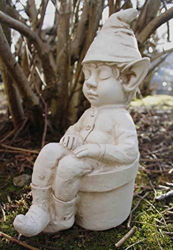 garden mile® Statue de jardin en forme de lutin endormi dans un pot de fleurs | Décoration de jardin effet pierre blanche