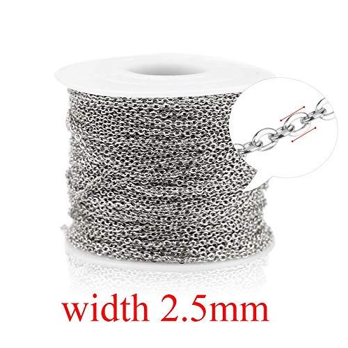 QWERTYU Aiovlo 2 M/partij Rvs Kabel Ketting Bulk Voor Zilver Rose Gouden Ketting 1 Mm 1,5 Mm 2 Mm 2,5 mm Ketting Diy Sieraden Materialen LIFUQIANGME