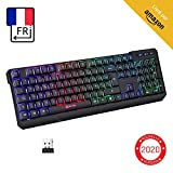 KLIM Chroma Clavier sans Fil Gamer AZERTY FRANÇAIS + Fin, Durable, Ergonomique, Discret, Waterproof, Silencieux + Clavier Gamer rétroéclairé pour PC Mac + Clavier PS4 + Nouvelle Version 2020 + Noir