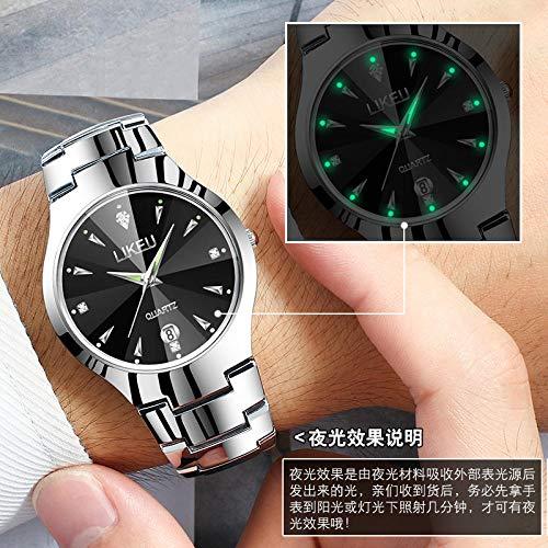 TWCAM Acero Cuero Pulsera Hombre- Reloj para Mujer, Reloj para Mujer, Reloj para Mujer, Reloj De Cuarzo Ultrafino Impermeable para Hombre, Reloj para Mujer En Oro Rosa Luminoso