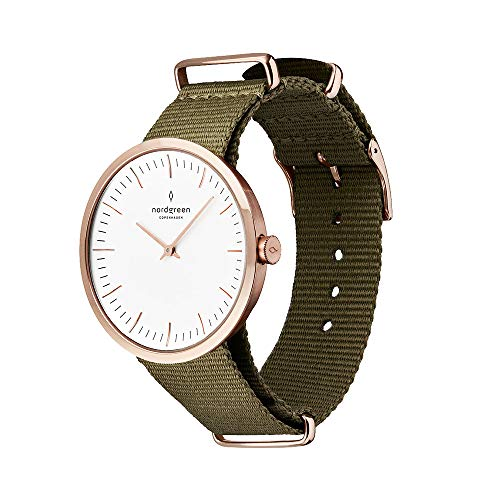 Nordgreen Infinity Scandinavian Rose Gold Unisex Analog 40mm (Large) Watch with Army Green Nylon Strap -  Owago Limited, 11063