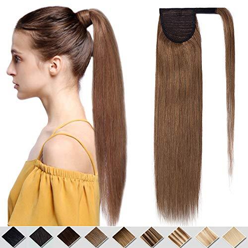 Pferdeschwanz Extension Clip in Ponytail Haarteile Echthaar Zopf Haarverlängerung Glatt Natürlich Weich Zopf 40 cm 80 Gramm #06 Hellbraun
