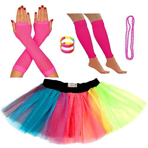 Childrens Kids Girls Neon Wrist Bangles Gummies 1980s Fancy Dress Dance