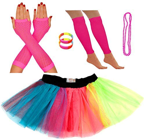 NEON TUTU SKIRT GLOVES LEGWARMERS AND BEADS FOR HEN NIGHTS