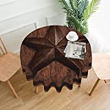 Tablecloth 60 inches Western Texas Star in Wood Waterproof Washable Round Table Cloth Cover for Dining Room Kitchen Decoration