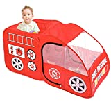 PIGLOO'Kids Fire Truck Play Tent - Pop up Foldable Fire Engine,Durable Indoor and Outdoor Imaginative Playhouse Ages 3+ Years, 140 x 70 x 70 cm