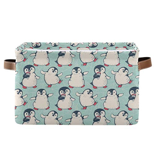 Rectangular Storage Bin Cute Penguins Basket with Handles - Toy Bins Laundry Storage Basket for Kids Toy Pets Room Closet