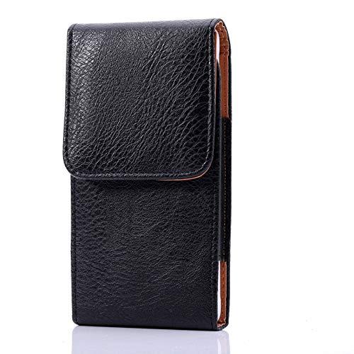 Litchi - Funda de piel para iPhone 12 Pro, 12, 11, XR para teléfono celular, con clip para cinturón, color negro
