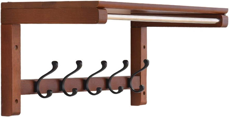 Feifei Coat Rack Hook, Solid Wood, Wall Mounted with Storage Shelf, Wall Shelf, Multifunction, for Entryway, Hallway, Bedroom, Bathroom, Living Room (Size   55.9  23.5  27.3cm)