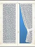 CARRE D AZUR - Rideaux Bonne Femme, Motif feuillages - Unisexe - Taille : 160X60 - Couleur : Blanc larg. 60 cm
