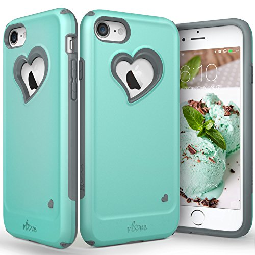 iPhone 8 Case, iPhone 7 Case, Vena [vLove][Heart-Shape | Dual Layer Protection] Hybrid Bumper Cover for Apple iPhone 8, iPhone 7 (4.7