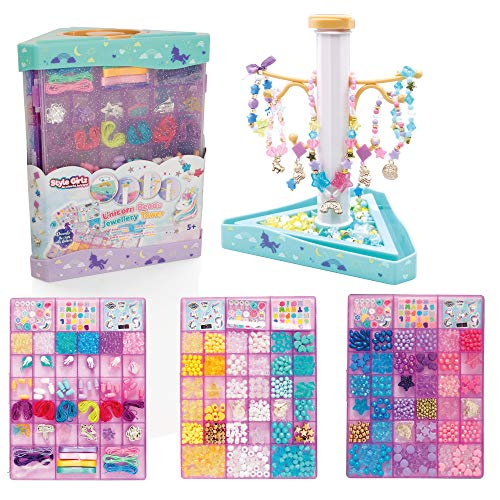 Style Girlz Unicorn Bead Tower Jewellery Making Kit - Kids Friendship Bracelets & Necklaces Set - Arts & Crafts For Girls Aged 5 Years +