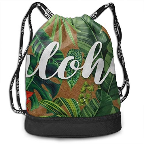 Drawstring Bag Gym Sports Bag - Aloha Tropical Palm Tree Banana Leaf And Red Flowers Drawstring Bag Gym Lightweight Bundle Backpack For Men Women Kids School Gym Travel