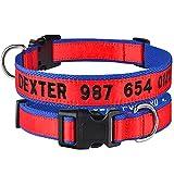 Collar personalizado bordado para mascotas, collares de nailon para perros, collar con nombre de identificación de cachorro personalizado para perros pequeños, medianos y grandes, ajustable-Red