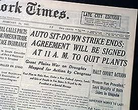 FLINT SIT-DOWN STRIKE Michigan General Motors & Labor Union ENDS 1937 Newspaper THE NEW YORK TIMES, February 11, 1937