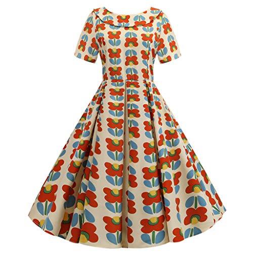 Abiti da Festa Abiti Vintage Abiti Altalena Abiti Elasticizzati Colletto con Bambola di Moda Vestito a Pois Stampato Indietro Bowknot Hepburn Vestito da Sera Donna (M,4- Multicolore)