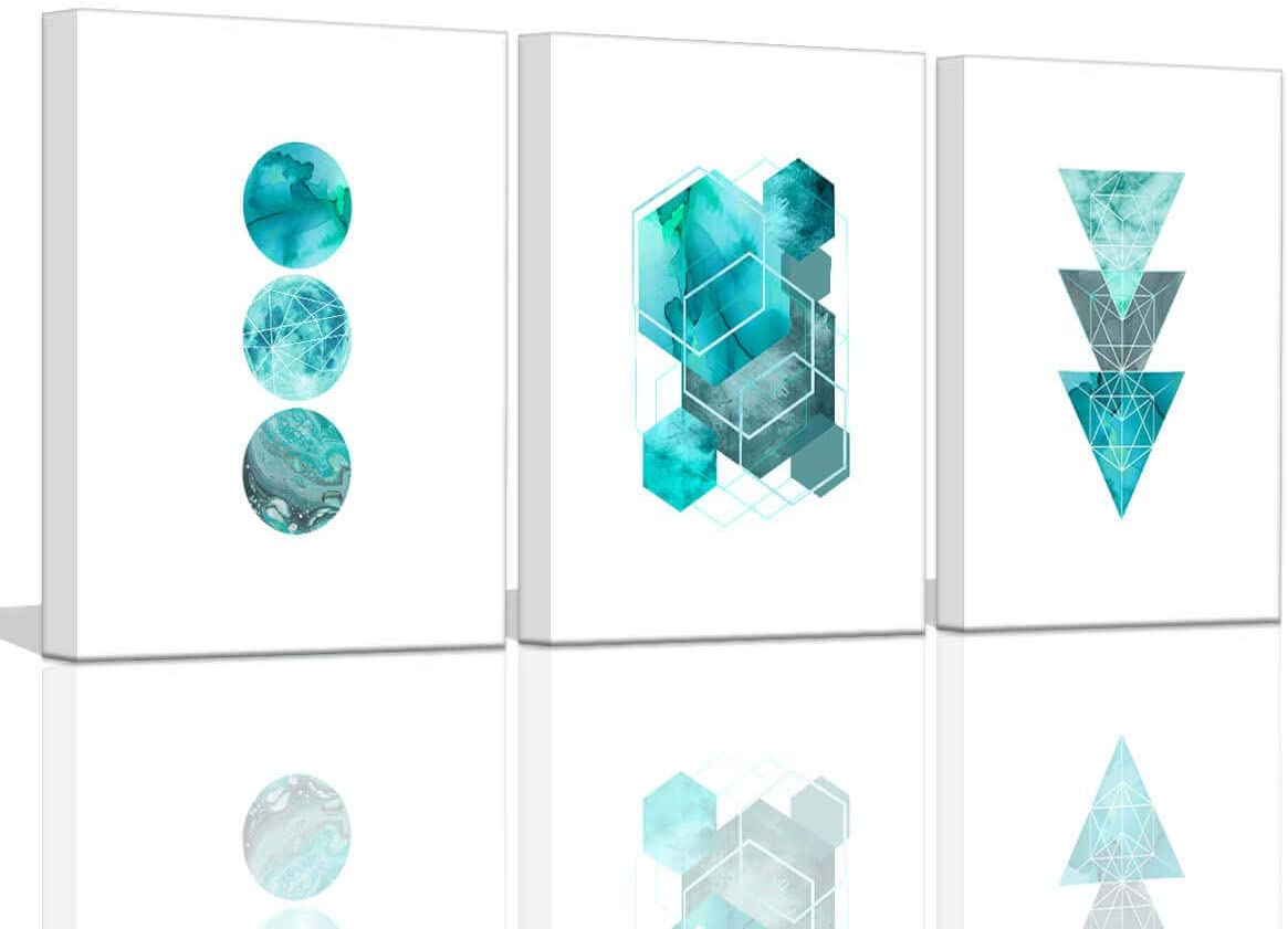 Teal Cheap mail order sales Wall Decor for Bedroom Abstract Great interest Geometry Art Prints Pr
