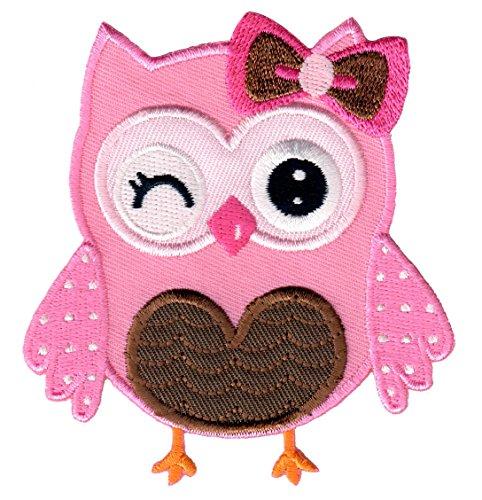 PatchMommy Eule Rosa Braun Patch Aufnäher Applikation Bügelbild - zum Aufbügeln oder Aufnähen - für Kinder/Baby