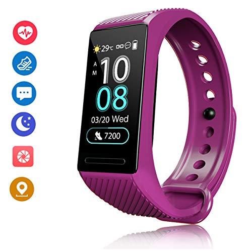 F-FISH Pulsera Actividad HR, Impermeable IP67 Pulsera Inteligente con Pulsómetro, Reloj Inteligente para Deporte, Pulsera Deporte para Android y iOS Teléfono móvil para Hombres Mujeres Niños