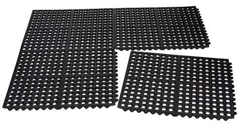 BIRDROCK HOME 4 pc Indoor Outdoor Drainage Utility Mat - 20 x 24 - Kitchen Non Slip Floor Mat for Kitchen Industrial - Durable Restaurant - Black