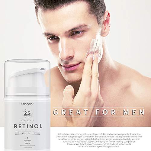 51blC74O pL - UMRAN Premium Retinol Cream, Anti-Aging Moisturizer Cream 2.5% for Face and Eye Care, Anti-Wrinkle Essence with Hyaluronic Acid, Day and Night Cream, Vitamin E and Green Tea, 50ml, 1.7 Fl.Oz
