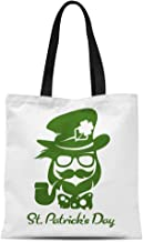 Semtomn Canvas Tote Bag Saint Patricks Day Hipster Leprechaun Pipe Beard Hat Durable Reusable Shopping Shoulder Grocery Bag