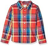 Amazon Essentials Jungen Langarmshirt Poplin/Chambray, Madras Red, US L (EU 134-140 CM)