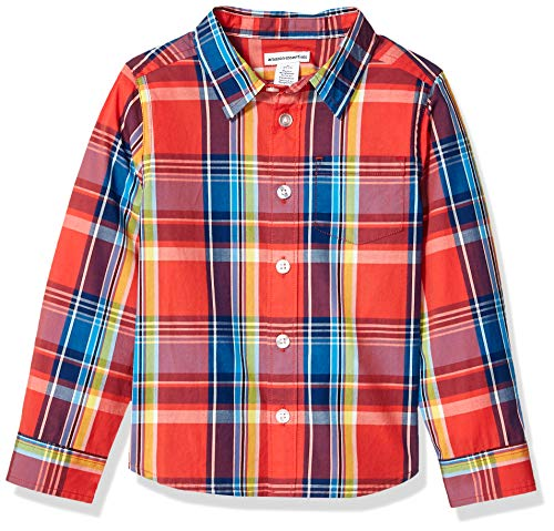 Amazon Essentials Jungen Langarmshirt Poplin/Chambray, Madras Red, US L (EU 134-140 CM)