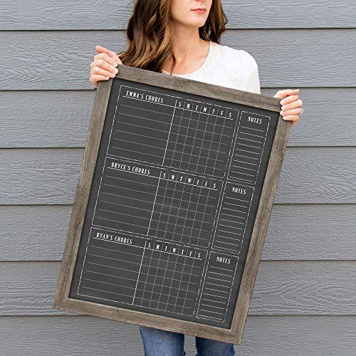 3 Kid Dry Erase Framed Chore Chart, 18x24, Contribution Chart, Responsibility Chart for three children