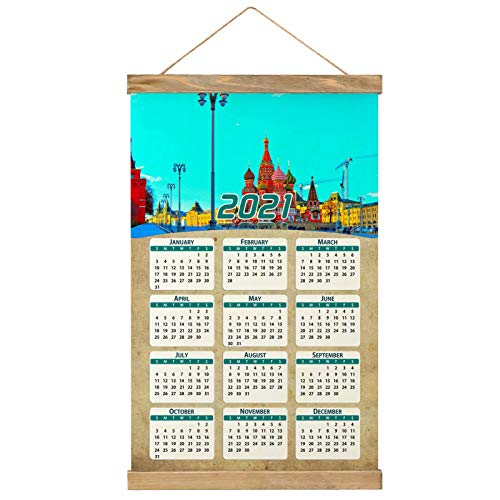 Russia St Basil'S Cathedral Red Square Moscow Wall Calendar 2021 12 months Canvas Wood 20.4' x 13.1' (GL-Russia-4916)