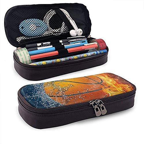 Stifteetui für Feuer- und Wasser-Basketball, PU-Leder, für Schule, Büro, Münzen, Kosmetiktasche, Make-up-Tasche