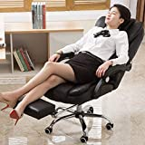 Home Office Chair Leather Desk Gaming Chair with Adjust Seat Height Ergonomic Computer Chair PU Leather Executive Adjustable Swivel Task Chair High-Back with Armrests & Headrest (Black)