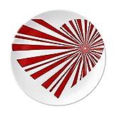 Red Valentine's Day Heart Bloom Dessert Plate Decorative Porcelain 8 inch Dinner Home