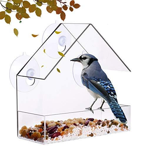 DEUXPER Window Bird Feeder, Small Clear Acrylic Wild Birdfeeder with Strong Suction Cup, Drain Holes,Seed Tray for Backyard Birding Supplies
