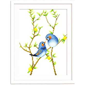 A Bird Sits on a Flowering Tree Branch 11.4 x 14.6 inches DOMEI Stamped Cross Stitch Kit