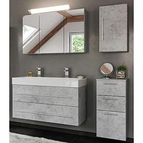 Lomadox - Juego Completo de Muebles de baño con Lavabo Doble de Mineral en Aspecto de hormigón y Armario con Espejo LED