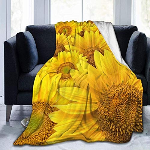 Floral Yellow Sunflower Soft Throw Blanket All Season Microplush Warm Blankets Lightweight Tufted Fuzzy Flannel Fleece Throws Blanket for Bed Sofa Couch