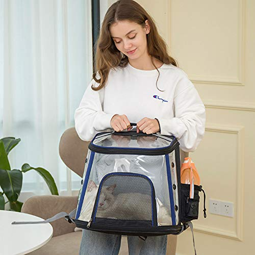 Bolsa para Mascotas,Bolsa de Transporte Gato Portador de Perros Portátil Transparente para Mascotas Bolsa de Espacio diseño de cápsula transpirable para Viajar en Tren/automóvil/Restaurante/avión