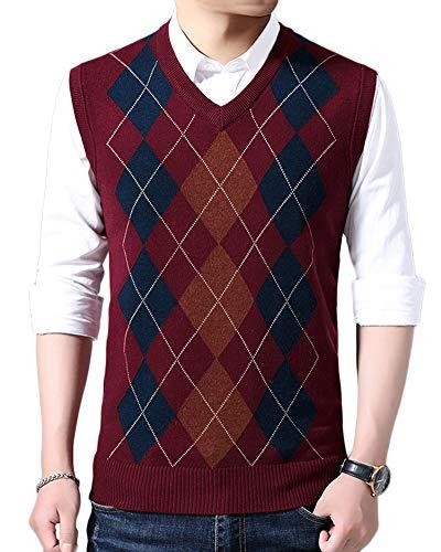 Herren Strickweste V-Ausschnitt Karo Knit Strick Vest Ärmellos Business Elegant Für Männer Rot 2XL