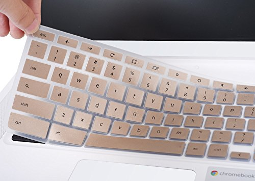 CaseBuy Champagne Gold Acer Chromebook 14 Silicon Keyboard Protector Skin Cover for Acer Chromebook 14 CB3-431 CP5-471 14 Chromebook US Version (Champagne Gold)