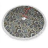 FULIYA Falda de árbol de Navidad con borla, círculos abstractos y triángulos, diseño de arte indígena exótico, de culturas primitivas, base de árbol de Navidad, decoración de fiesta