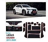 linfei Alfombrilla Antideslizante De Goma con Ranura para Puerta para Lexus UX Ux250H Ux200 2015-2020 Accesorios para Posavasos con Ranura para Puerta Accesorios para Autoadhesivos