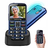 Ushining Unlocked Senior Cell Phones 3G AT&T Big Button Feature Phone Hearing Aids Compatible Easy-to-Use Basic Mobile Phone for Elderly with Charging Dock(Blue)