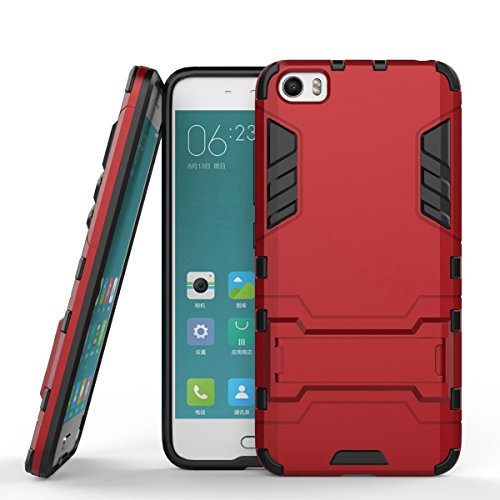 Tasche für Xiaomi Mi5 Hülle, Ycloud das stärkste Handy Shock Proof Armor Dual Schutzabdeckung Hochfeste PC Kunststoffoberschale Shockproof mit Halterung Schutzabdeckung Rotwein
