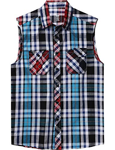Ma Croix Mens Sleeveless Plaid Flannel Shirt (1ak01_Aqua, 3X-Large)