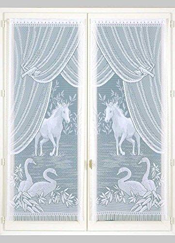 HomeMaison Equestre Paire de vitrages Esprit, Polyester, Blanc, 220x60 cm