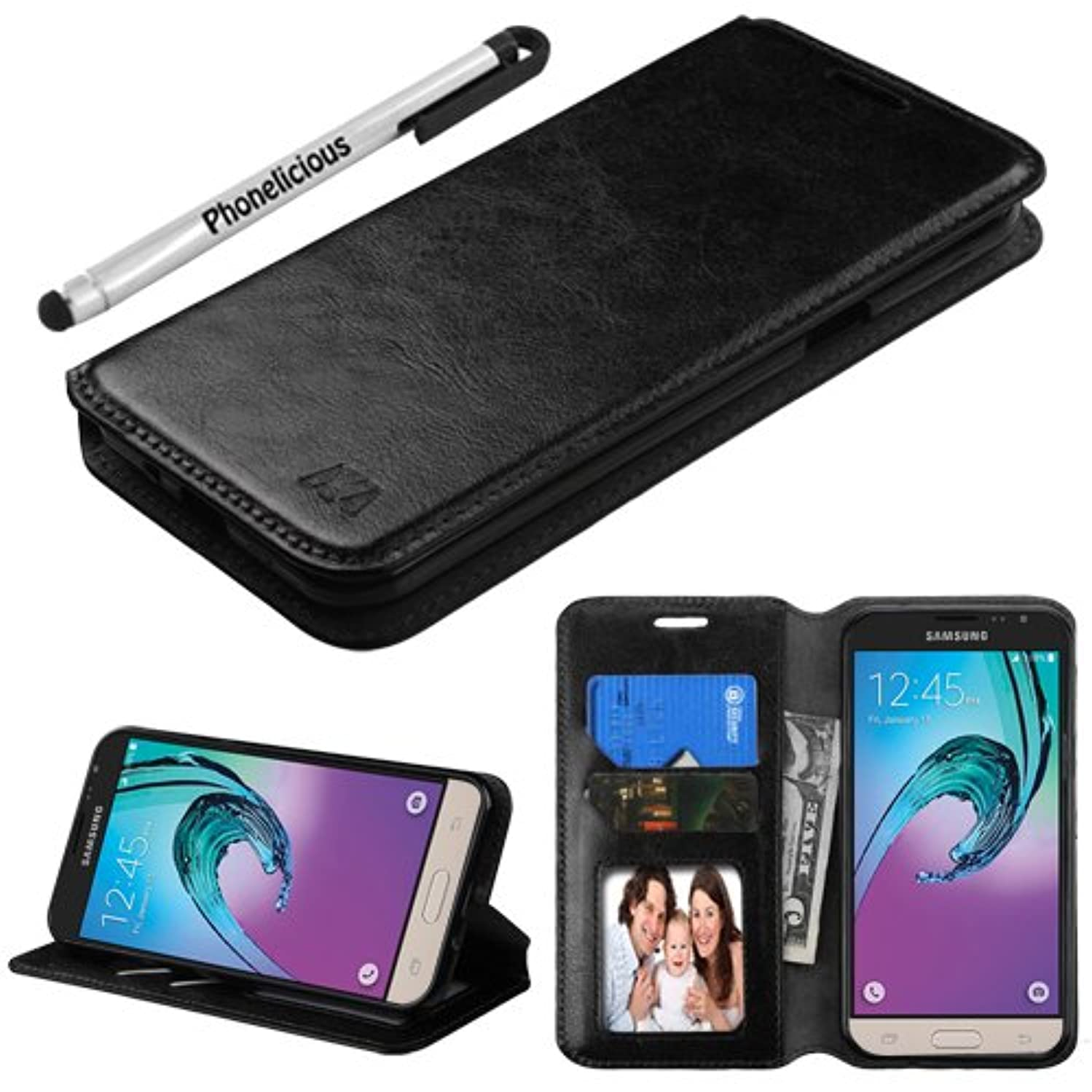GALAXY SKY Case, Phonelicious SAMSUNG GALAXY SKY (S320VL) Wallet PU Leather Case Premium Pouch ID Credit Card Cover Flip Folio Book Style with Money Slot +Pen (BLACK FOLDSTAND)