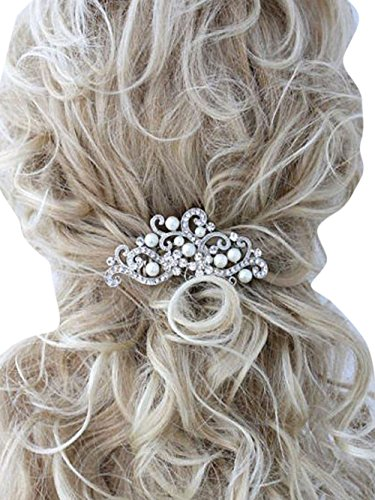 Missgrace Crystal Jewelry Comb Bridal Headpiece Hair Clip Headband (Silver)