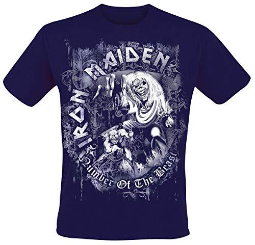 Iron Maiden NOTB Grey Circle Hombre Camiseta Azul Marino L, 100% algodón, Regular
